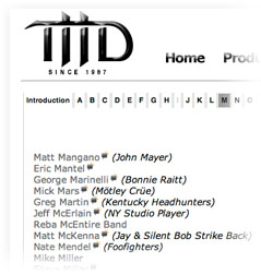 The original THD Artist List